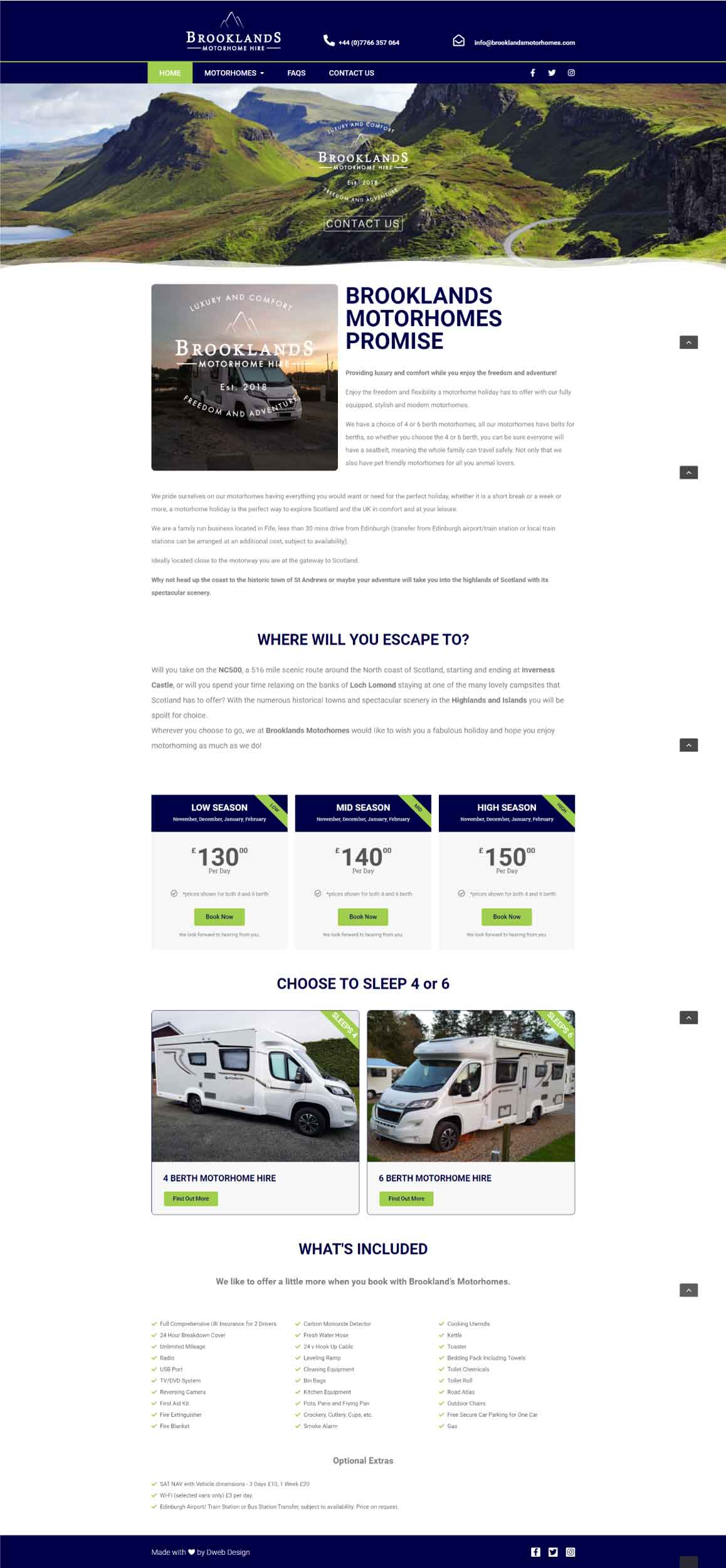 Brooklands Motorhomes Website
