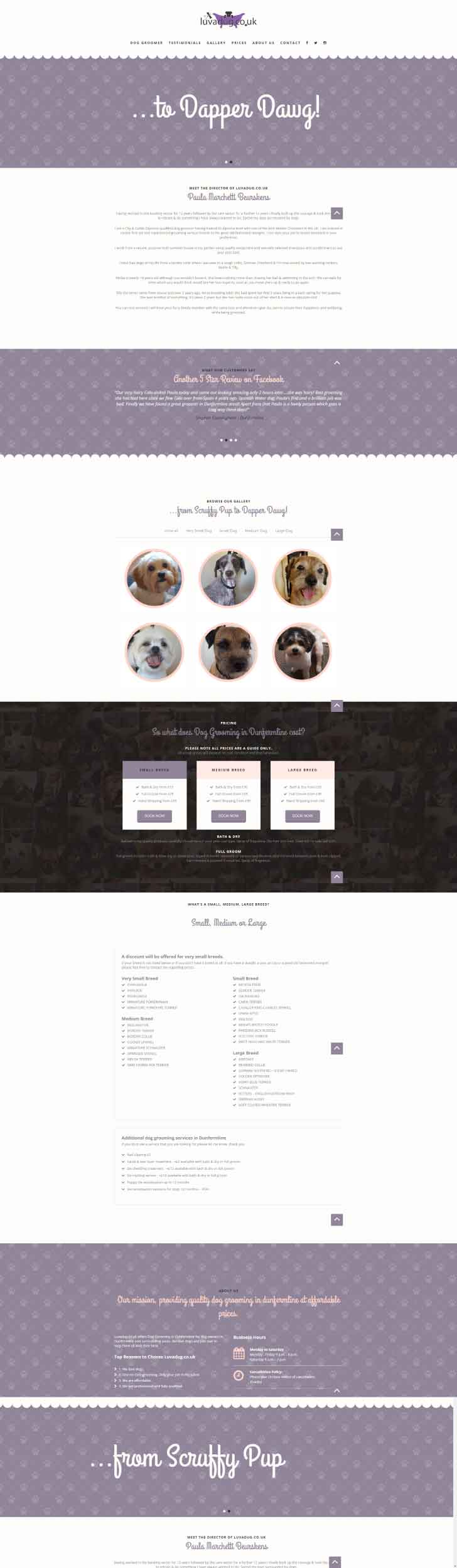 Luvadug Dog Grooming Website