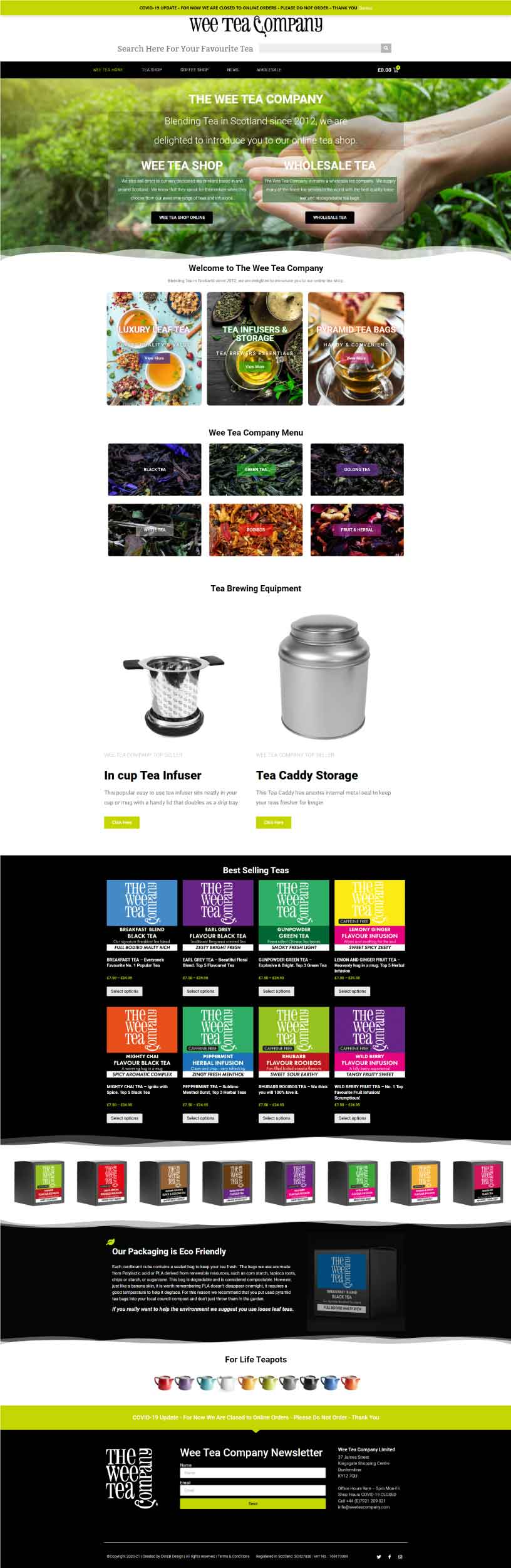 Wee Tea Company Ecommerce Website