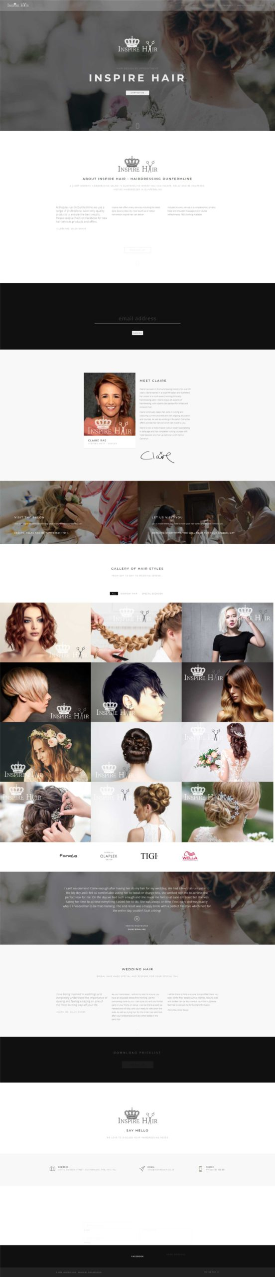 Inspire Hairdresser Website Design by Dweb Design