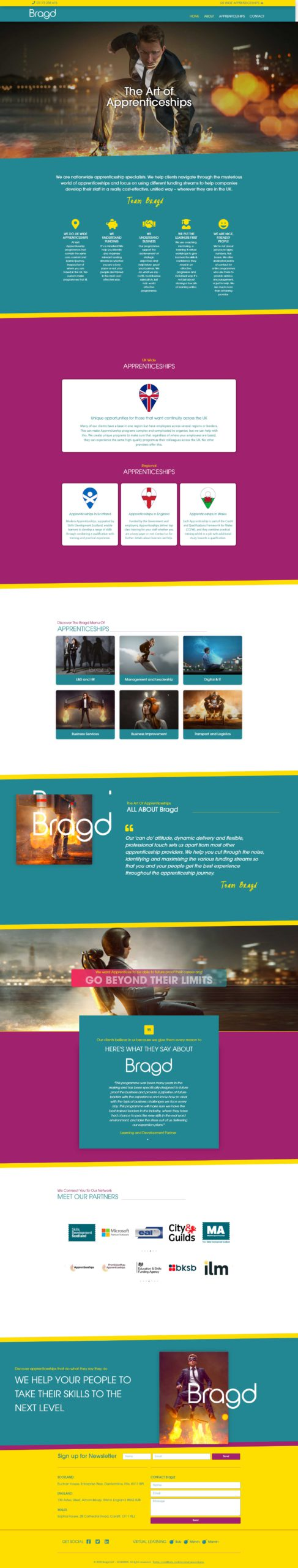 Screenshot Bragd Website by Dweb Design